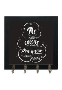 Quadro Oppen House Porta Chaves 24X24Cm Frases As Melhores Coisas Decorativo Chaveiro Moldura Preta