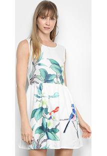 Vestido Lily Fashion Evasê Floral - Feminino-Branco+Cinza