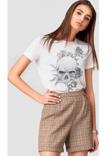 Camiseta Basica Joss Caveira Florida Branca - Kanui