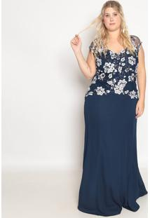 Vestido Longo Floral Com Bordado- Azul Marinho & Off Whipianeta