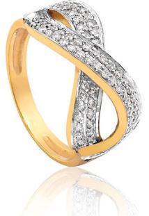 Anel Ouro Amarelo Com Diamantes Rodinados