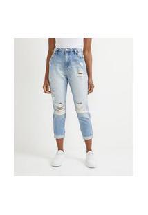 Calça Mom Em Jeans Com Puídos E Elástico Nos Bolsos