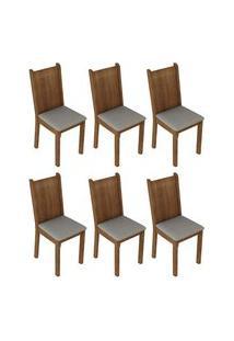 Kit 6 Cadeiras 4290 Madesa Rustic/Pérola Marrom