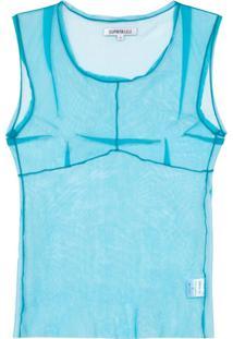 Supriya Lele Regata Com Tela Transparente 'Saree' - Azul