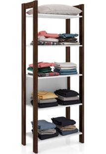 Guarda-Roupa Closet Modulado Belga Branco Nogal