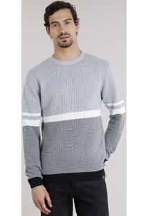 Suéter Masculino Bicolor Com Listras Em Tricô Gola Redonda Manga Longa Cinza Mescla