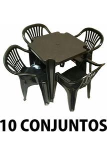 Conjunto Mesa E 4 Cadeiras Poltrona Plastico Preto 10 Conjuntos