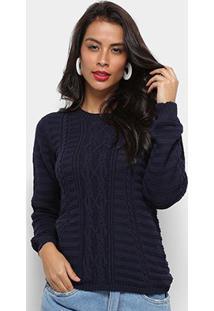 Tricô Fast Glam Suéter Tricot Desenhado Feminino - Feminino-Marinho