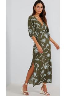 Vestido Midi Flor De Vento Verde