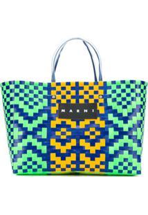 Marni Market Bolsa Tote Com Padronagem E Logo - Azul
