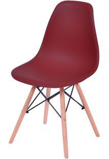 Cadeira Eames Polipropileno Vinho Base Madeira - 43035 Sun House