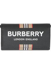 Burberry Carteira Com Alça E Estampa De Logo - Preto