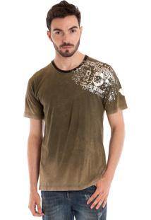 Camiseta Básica Konciny Manga Curta Verde Musgo