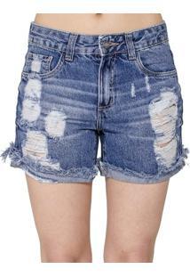 Shorts Jeans Destroyed Handbook - Feminino-Jeans
