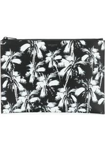 Saint Laurent Clutch Com Estampa De Palmeira - Preto