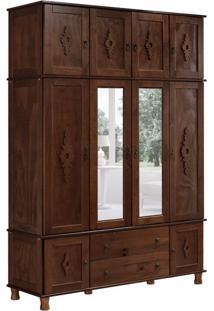 Guarda-Roupa Casal Com Espelho Colonial Ii 11 Pt Castanho Acetinado