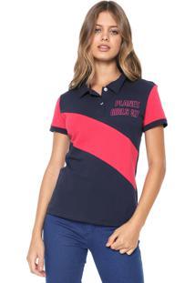 Camisa Polo Planet Girls Recortes Azul-Marinho/Rosa