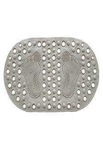 Tapete Banheiro Banho Box Antiderrapante Ventosas Pé 33X66 Cinza