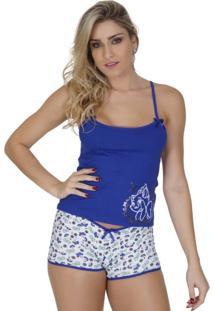 Baby Doll Click Chique Alça Dupla Cor Com Silk Azul