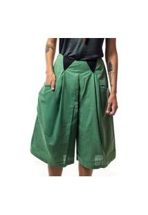 Calça Pantacourt De Linho Verde