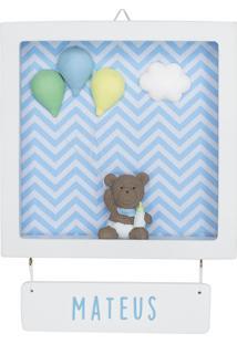 Enfeite Maternidade Urso Ursinho Bexiga Menino Chevron Bebê Potinho De Mel - Kanui