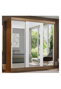 Guarda-Roupa Casal Madesa Reno 3 Portas De Correr De Espelho Rustic/Branco Cor:Rustic/Branco