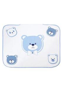 Toalha De Banho Bebê Masculino Com Capuz Branco E Azul Ursinhos - Tecebem - Tamanho Único - Branco,Azul