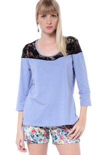Blusa Energia Fashion Renda Azul