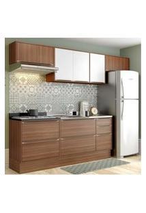 Cozinha Completa Multimóveis Com 6 Peças Calábria 5456R Nogueira/Branco Marrom