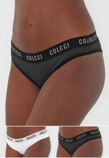 Kit 2Pçs Calcinha Colcci Underwear Tanga Lettering Preto/Branco