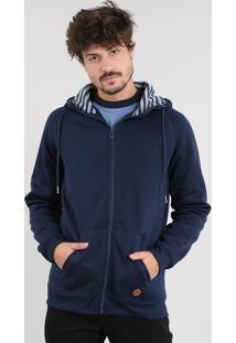Blusão Masculino Em Moletom Com Capuz E Bolsos Azul Marinho