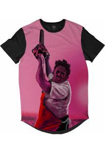Camiseta Longline Insane 10 Terror Leather Face Massacre Da Serra Elétrica Sublimada Rosa