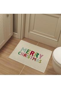 Tapete De Pano Para Banheiro Merry Christmas Colorido Único