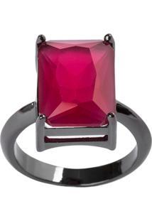 Anel Retangular The Ring Boutique Pedra Cristal Vermelho Rubi Ródio Negro