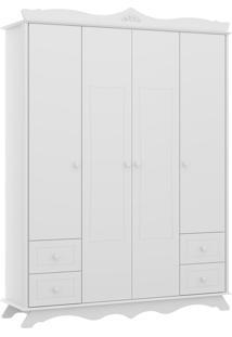 Guarda-Roupa Multimóveis 4 Portas Riscadas E 4 Gavetas Branco Premium