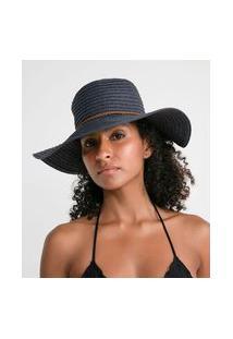 Chapéu De Praia Básico Com Cordão Fake Suede Trançado | Bossa Nossa | Azul | U