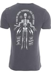 Camiseta Masculina Esqueleto - Cinza