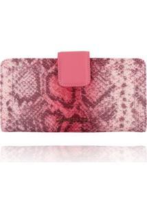 Carteira Clutch Campezzo Snake Pink - Rosa - Feminino - Dafiti