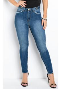 Calça Cigarrete Jeans Sawary Com Bolso Decorativo