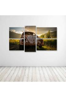 Quadro Decorativo - Abandoned Vw Beetle - Composto De 5 Quadros