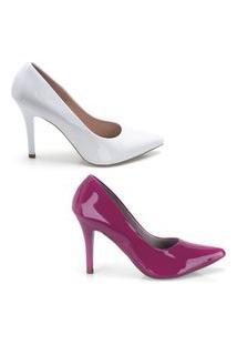 Kit 2 Scarpin Feminino Verniz Confortável Elegante Clássico Branco+Rosa 39 Branco