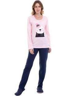 Pijama De Inverno Feminino Urso Luna Cuore