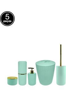 Kit Banheiro Groove 5Pçs Ou Verde Menta