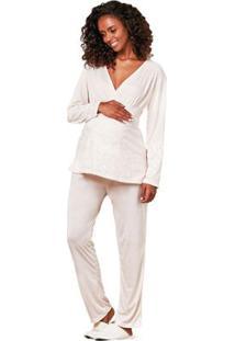 Pijama De Inverno Gestante Longo Amamentação Luna Cuore - Feminino-Off White