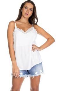 Blusa Alça Decote Renda Serinah Feminina - Feminino-Branco