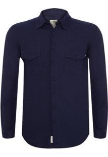 Camisa Timberland Tbl Linen Cotton Cargo Masculina - Masculino-Marinho