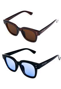 Kit De 2 Óculos De Sol Titânia Quadrado Marrom E Preto - Kanui