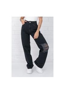 Calça Jeans Pkd Wide Leg Black Destroyed