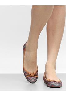 Sapatilha Shoestock Bico Redondo Estampada Feminina - Feminino-Caramelo