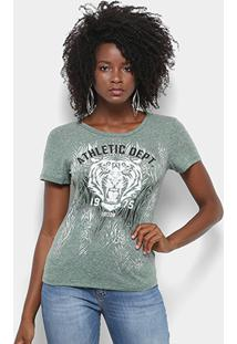 Camiseta Triton Estampa Tigre Mesclada Feminina - Feminino